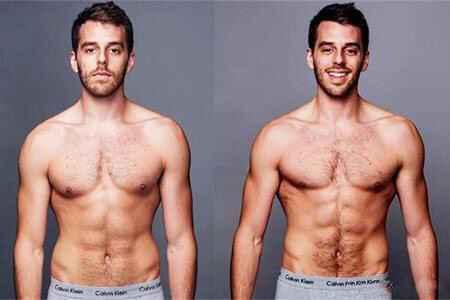 蹦床运动前后身体正面对比