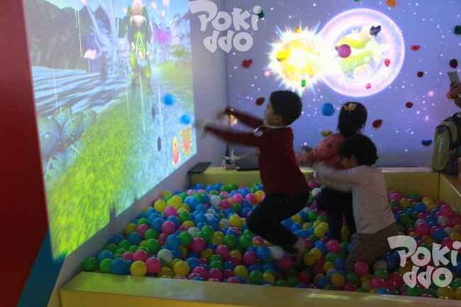 儿童乐园互动投影砸球游戏