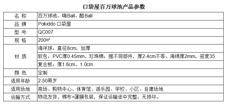 海洋球池规格参数