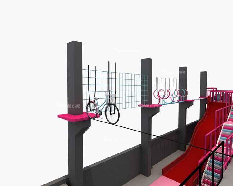 网红蹦床公园项目-空中自行车