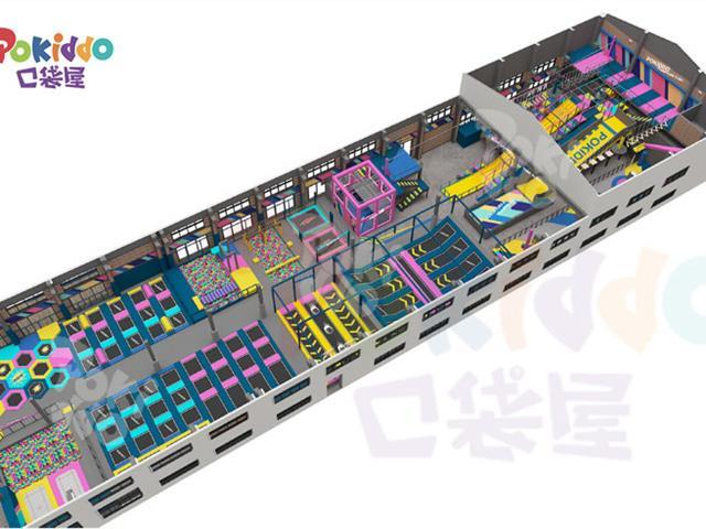 蹦床公园场馆装修设计中,蹦床场馆环境色彩VI的搭配应用