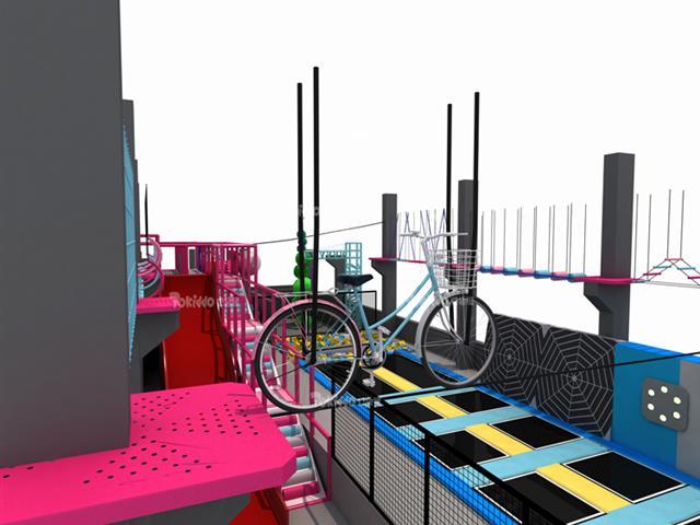 网红蹦床公园高空拓展项目——空中自行车